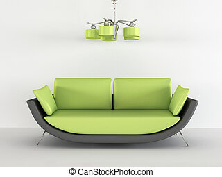 Loft sofa with chandelier in minimalism interior