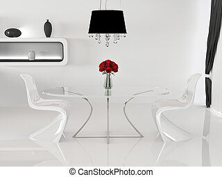 Two chairs and table with vase in minimalism interior. Space. Curve Furniture