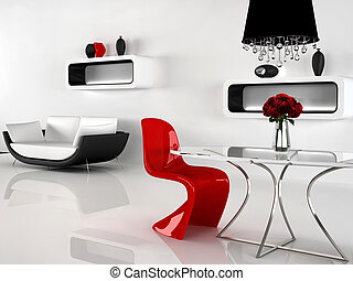 Minimalism and baroque Furniture in interior. Modern sofa, red Chair, Table, chandelier, vases
