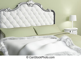 Luxurious bed with pillows and bedspread in hotel interior