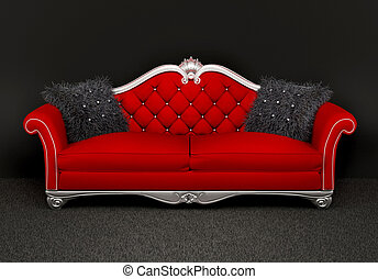 Modern sofa with two  furry cushions in interior