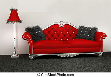 Modern armchair with furry cushions and standard lamp in interior