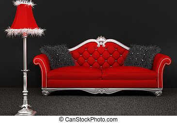 Sofa with furry pillows and standard lamp on dark background