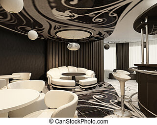 Perspective of modern restaurant with design furniture