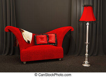 Red fabric sofa Textured and curved sofa with standing lapm...