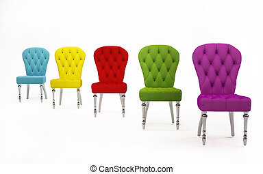 Perspective of colored fabric chairs Modern Furniture