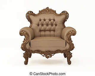 Luxury and leather modern armchair with bronze frame on the white background