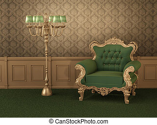 Old styled furniture. Armchair with frame in royal wooden interior. Luxurious apartment