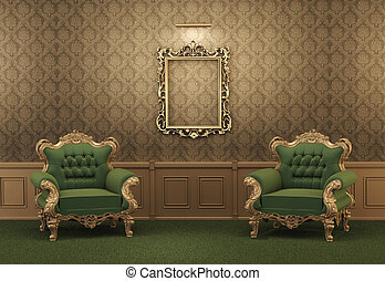 Armchairs and Empty golden frame on a wall. Royal apartment....