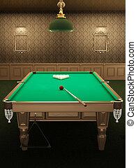 billiard or pool table in luxurious interior with pattern...