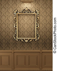 Royal golden frame on the wall in interior Gallery