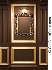 Golden empty frame on wooden wall in Luxurious interior. Old...