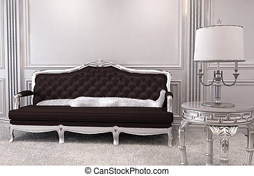 Luxurious sofa in modern interior. Luxe. Furniture in royal apartment. Hall. Relaxation room