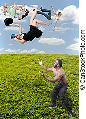 Woman Falling Through the Sky - Handsome man catching a...