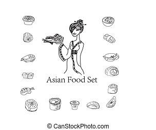Sushi doodle set