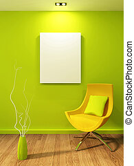 Empty illustration in modern interior. Gallary and armchair with vase
