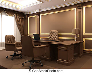 Modern interior. Office space. Wooden furniture in Luxurious apartment. Business table with armchairs. Work place near big window.