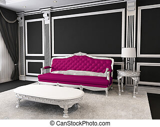 Luxurious furniture. Sofa in royal interior