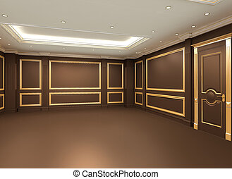 Empty space interior. Golden frames on the wooden wall in...