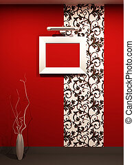 Empty foto frame on decorative wallpaper in red modern...