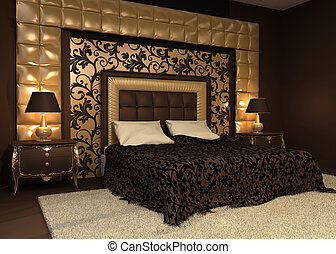 Romantic interior. Double bed in golden luxurious interior....