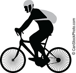 bicyclist silhouette vector - bicyclist with helmet and...