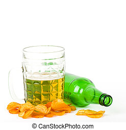 Beer green bottle and glass isolated on a white