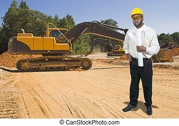 Construction Worker with Clipboard - Balck African American...
