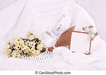 bridal shoes, lace and rings - bridal shoes, lace and...