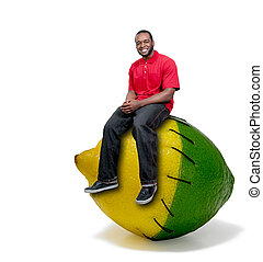 Black Man Stitched Lemon and Lime - Black African American...