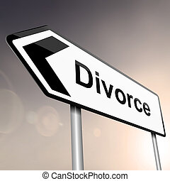 Divorce concept - illustration depicting a sign post with...