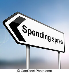 Spending spree concept - illustration depicting a sign post...