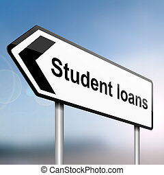 student loans concept - illustration depicting a sign post...