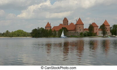 yacht near Trakai castle - yacht on the Galve lake near...