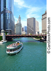 Chicago River Cruise boat headed down the river towards Lake...