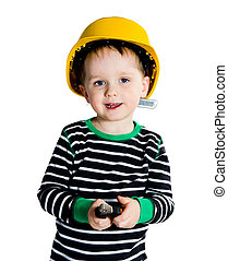 Little mechanic boy - Happy smiling 2-3 years old boy in...