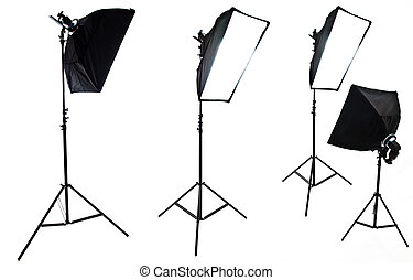 Photo studio equipment. Four softboxes isolated on white...