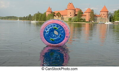 zorbing ball on the lake and castle - plastic zorbing ball...