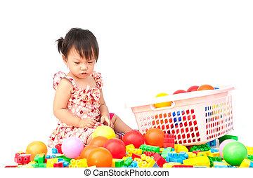 很少, 玩具, 女孩, 玩