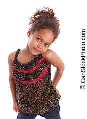 Adorable little African Asian girl isolated on white...