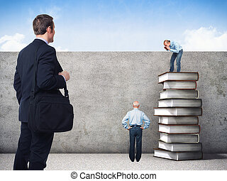 team work - people and 3d image of book pile and grunge wall
