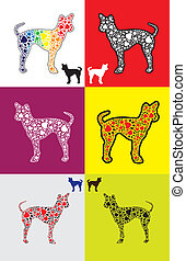 Dog silhouette with paw shapes in various colors -...
