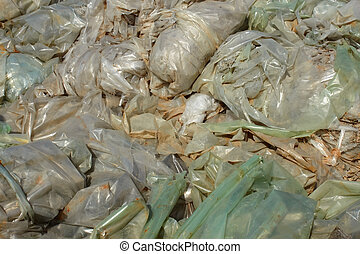 Polythene films junkyard - A lot of recycled wastes from...