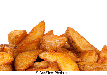 fried Potato wedges. Fast food. Isolated on white