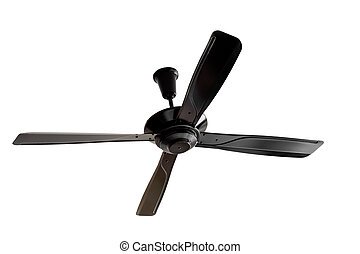Four blades black Ceiling fan isolated