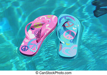flip-flops - Flip-flops in a swimming pool