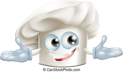Happy white chefs hat cartoon man - Happy white chef's hat...