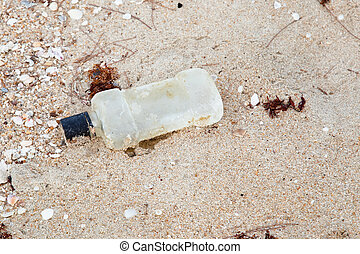 garbage plastic on the beach  - garbage plastic on the beach