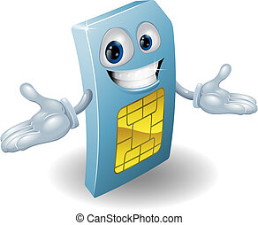 Mobile phone sim card mascot - A mobile phone subscriber...