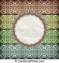 vector seamless floral borders abd napkin with lace and  crumpled   paper texture, eps 10, gradient mesh